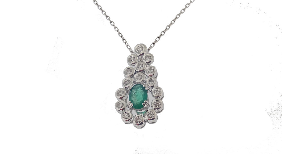 14kt Oval Emerald and Bezel Set Diamond Pendant with Chain