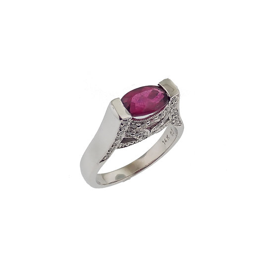 14kt White Rubellite Tourmaline Custom Design Ring