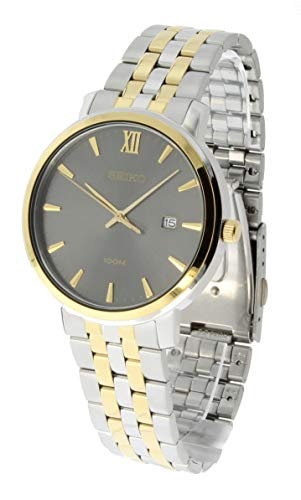 Seiko Mens Quartz Two Toned Stainless-Steel Analog Grey Dial Watch