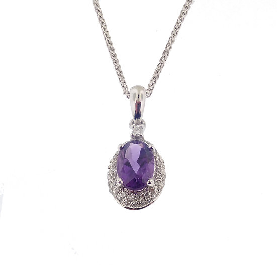 10kt White Oval Amethyst & Diamond Halo Pendant