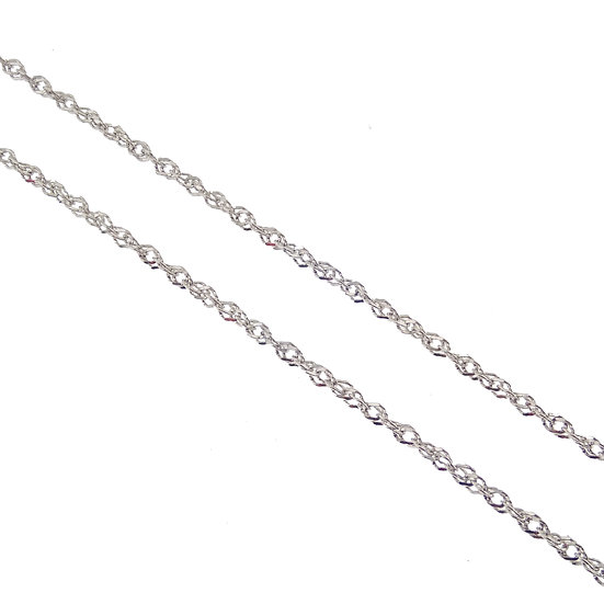 14kt White Diamond Cut Singapore Link Chain