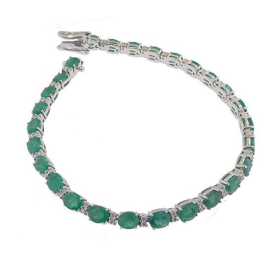 14kt White Oval Cut Emerald & Diamond Bracelet