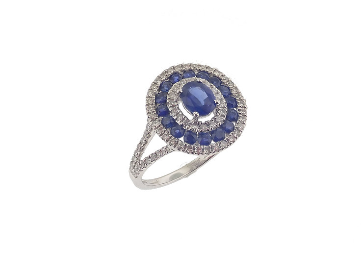 14kt White Blue Sapphire & Double Diamond Halo Fashion Ring
