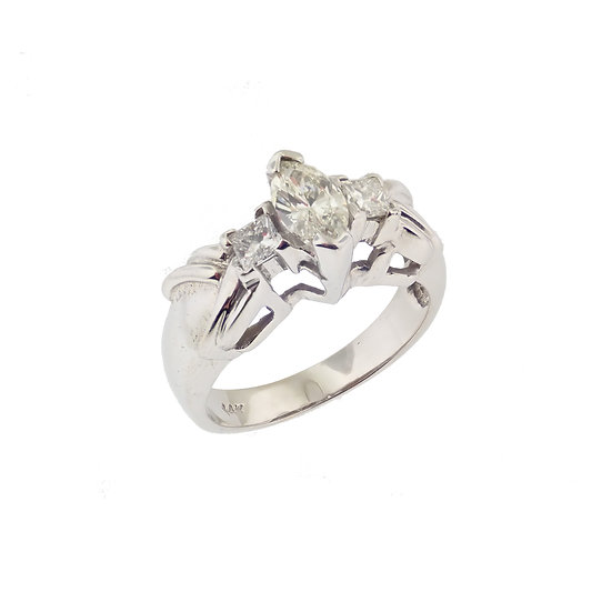 14kt White Marquise Diamond & Princess Cut Diamond Accents Engagement Ring