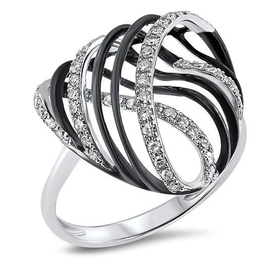14kt White Gold & Black Rhodium Diamond Fashion Ring