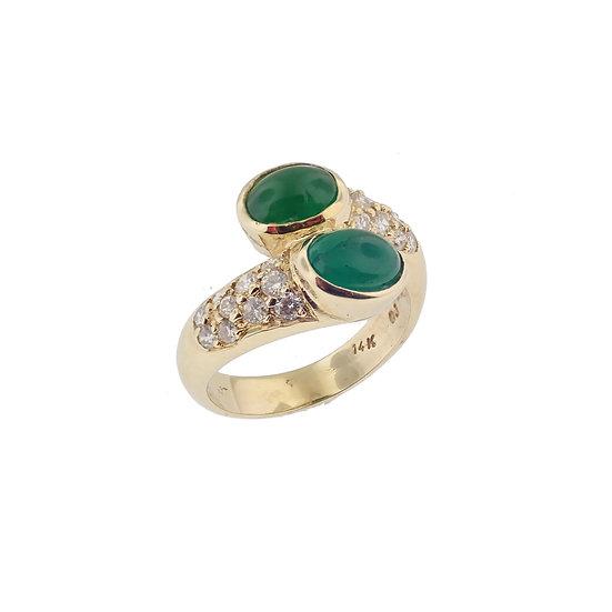 14kt Yellow Dual Cabochon Emerald & Diamond Ring