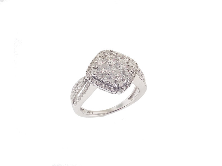 14kt White Cushion Shaped Diamond Cluster Engagement Ring