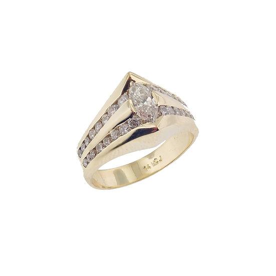 14kt Yellow Custom Design Marquise & Round Diamond Engagement Ring