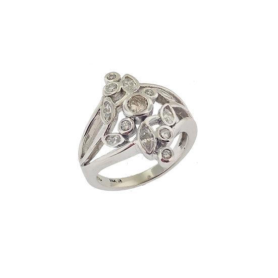 14kt White Diamond Low Profile Fashion Diamond Ring