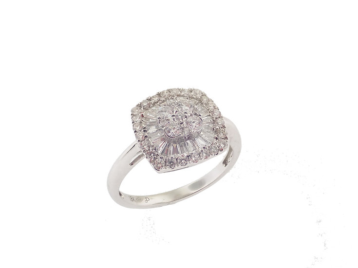 18kt White Baguette & Rounds Cushion Shaped Cluster Engagement Ring