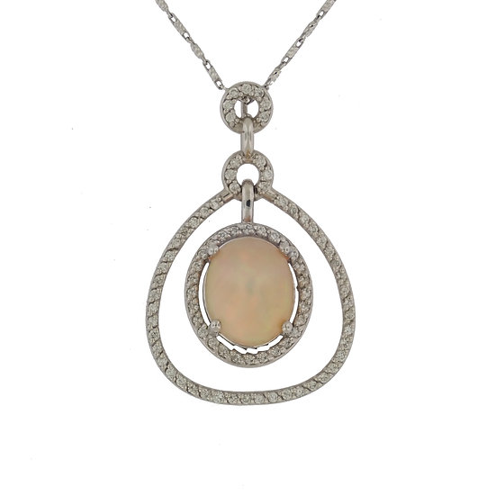 14kt White Natural Oval Opal & Diamond Pendant