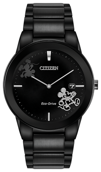 Citizen Eco-Drive® Mickey Mouse Black IP Watch with Black Dial