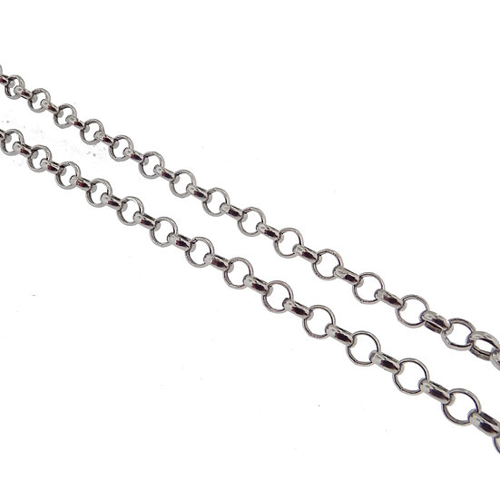 14kt White Rolo Link Chain