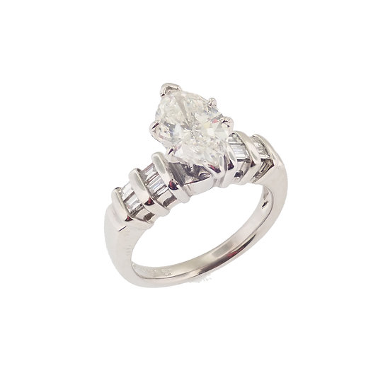 18kt White Marquise & Baguette Diamond Engagement Ring