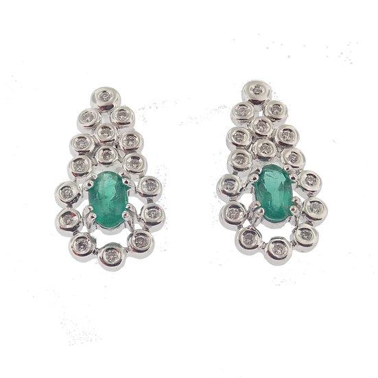 14kt White Oval Emerald & Diamond Earrings