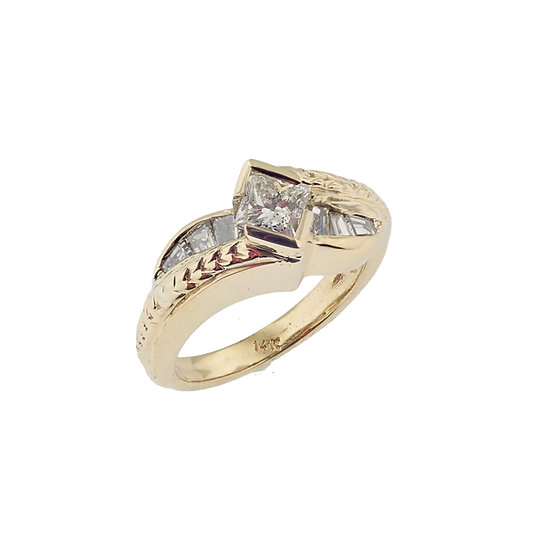 14kt Yellow Princess & Baguette Cut Diamond Engagement Ring