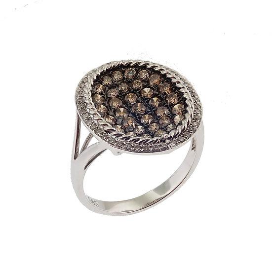 14kt White Ovalized Cognac & White Diamond Fashion Ring