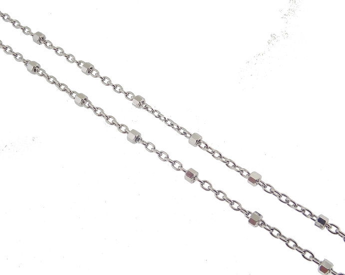 14kt White Rolo Link with Shimmering Diamond Cut Beads Chain