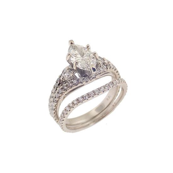 14kt White Marquise Diamond Engagement Bridal Set