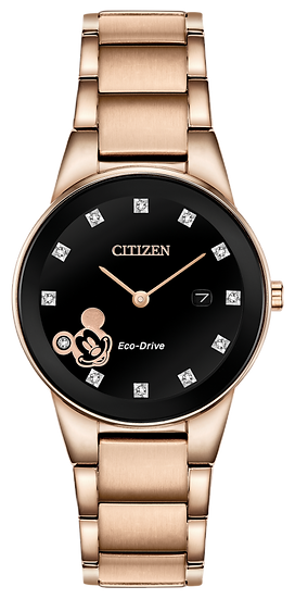 Ladies' Citizen Eco-Drive® Mickey Mouse Diamond Accent Rose-Tone Watch with Blac