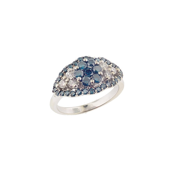 14kt White Gold White & Teal Blue Enhanced Diamond Fashion Ring