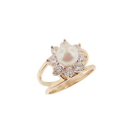 14kt Yellow Cultured Pearl & Diamond Halo Ring