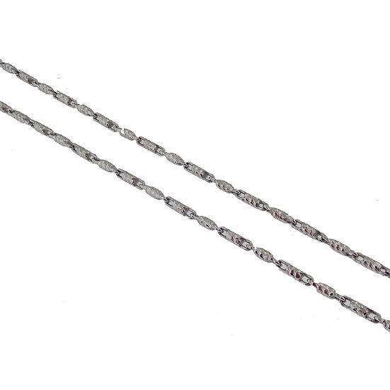 14kt White Diamond Cut Bar Link Chain