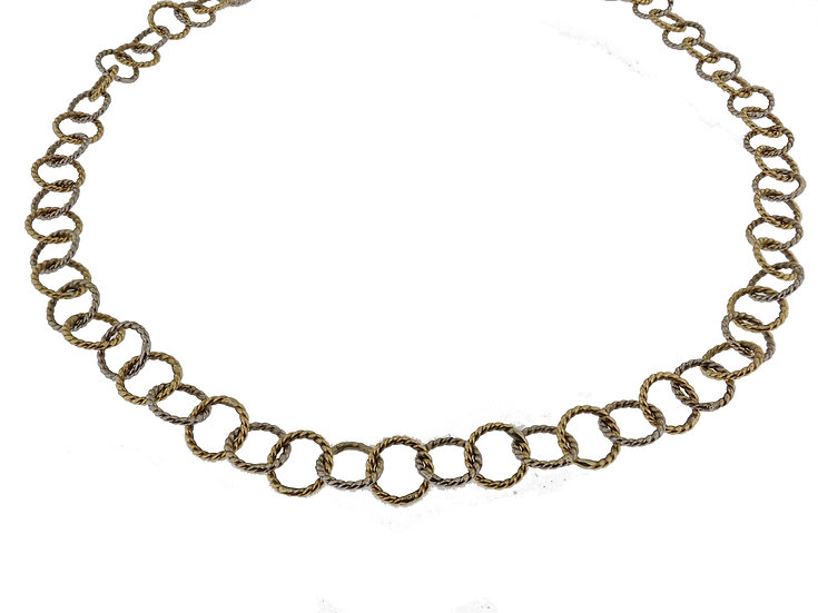 18kt Yellow & White Gold Unique Textured Round Link Chain