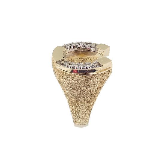 14kt Yellow Horseshoe & Diamond Ring