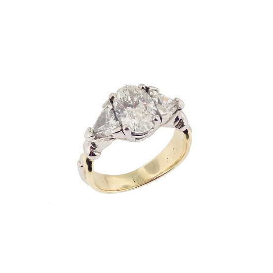14kt White & Yellow Vintage Oval Diamond & Trillion Diamond Ring