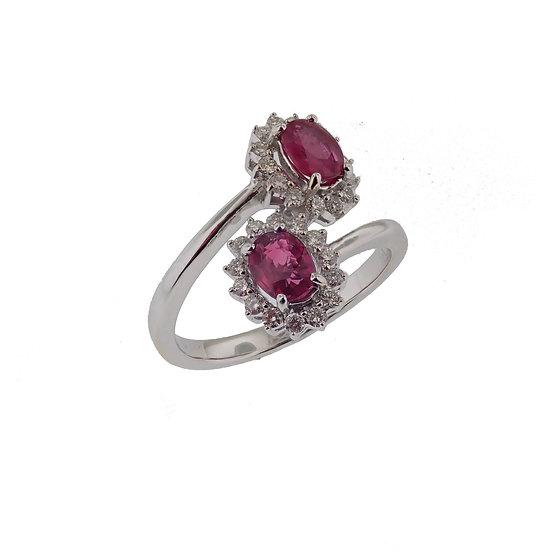 14kt White Dual Ruby & Diamond Halo Fashion Ring