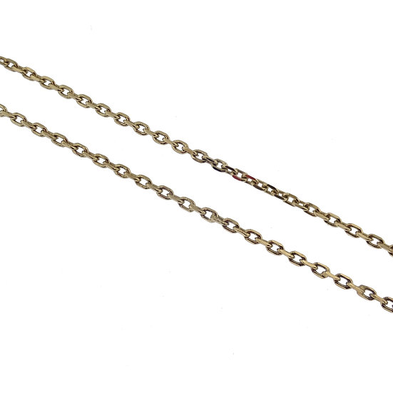 14kt Yellow Diamond Cut Cable Link Chain