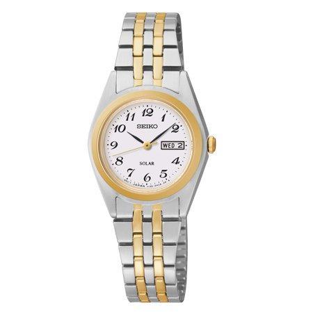 Seiko Women's Solar White Dial Two-Tone Watch