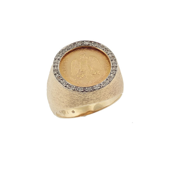 14kt Yellow Mexican 2.5 Pesos Coin & Diamond Ring