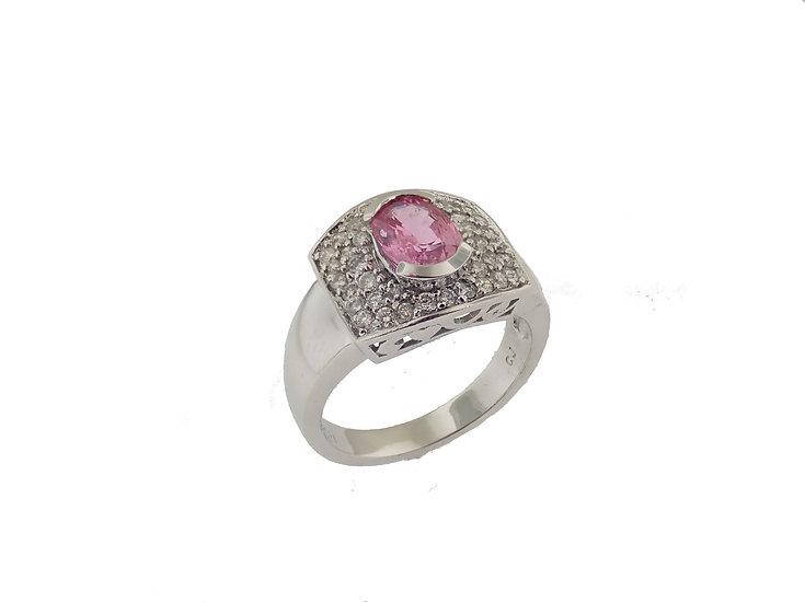 14kt White Pink Sapphire & Diamond Fashion Ring