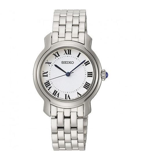 Seiko Silver-tone Dress Watch White Dial (Model: SRZ519)