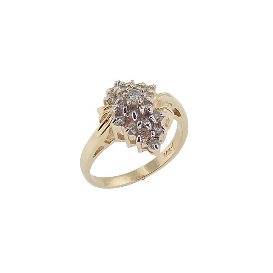 14kt Yellow Waterfall Style Diamond Cluster Fashion Ring