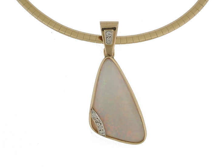 14kt Yellow Natural Australian Opal & Diamond Pendant