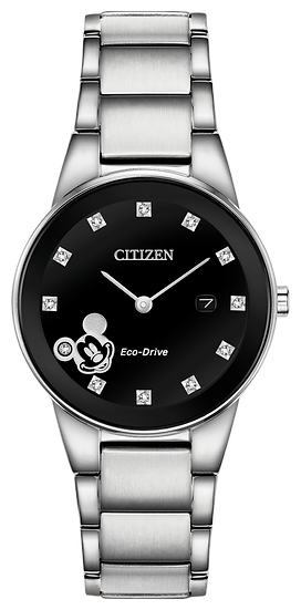 Ladies' Citizen Eco-Drive® Mickey Mouse Diamond Accent Watch with Black Dial
