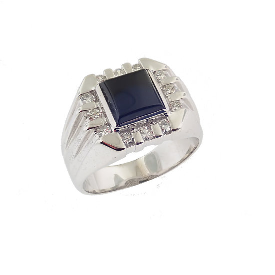 14kt White Custom Designed Onyx & Diamond Ring