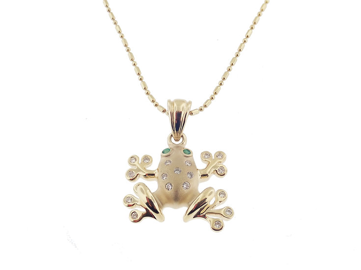 14kt Yellow Frog with Diamonds and Emeralds Pendant