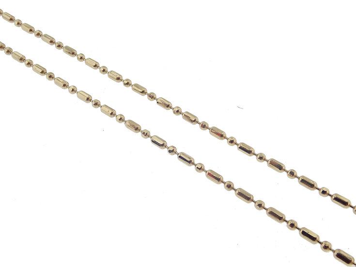 14kt Yellow Bar and Bead Diamond Cut Chain