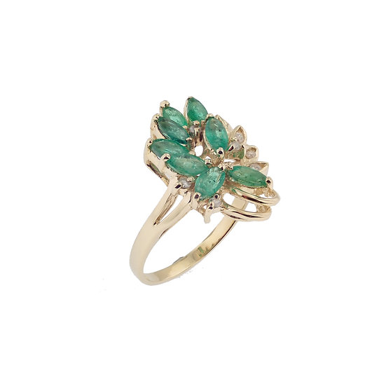 14kt Yellow Emerald & Diamond Floral Cluster Fashion Ring