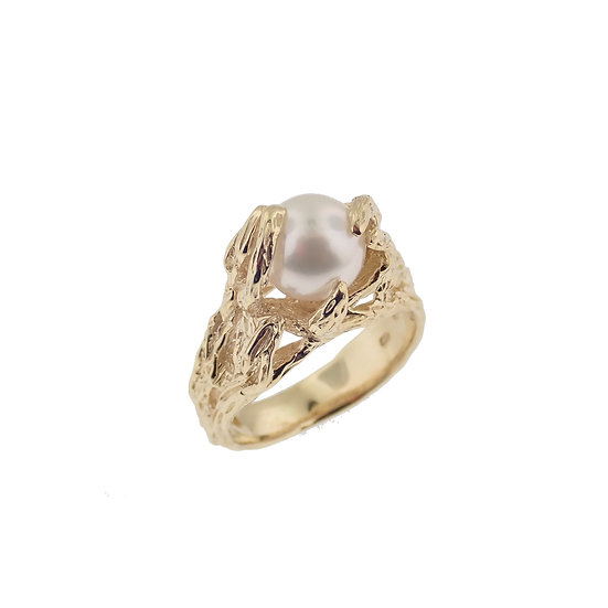 14kt Yellow Freeform Custom Design Cultured Pearl Ring