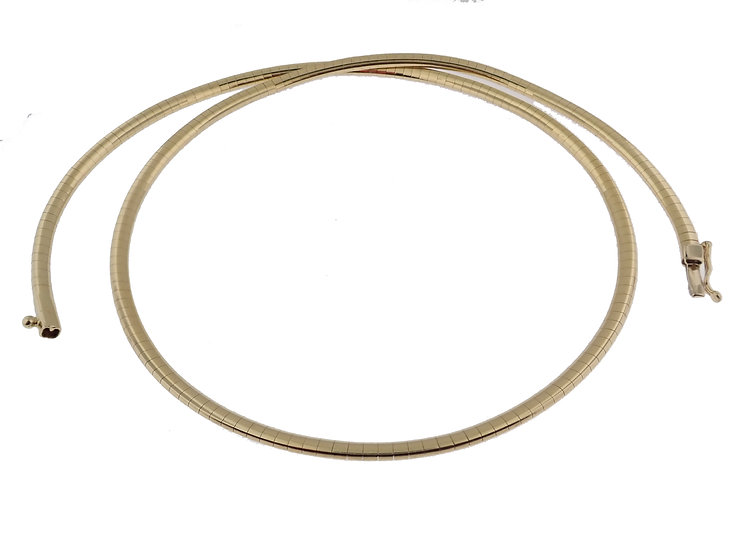 14kt Yellow Half Round Omega Link Chain