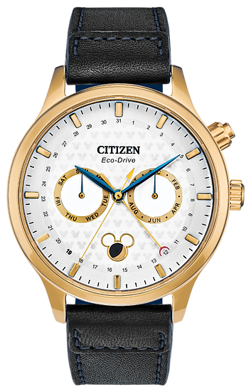 Citizen Eco-Drive® Mickey Mouse Moon Phase Gold-Tone Strap Watch with White Dial