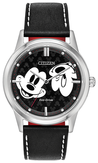 Citizen Eco-Drive® Mickey Mouse Strap Watch with Black Dial