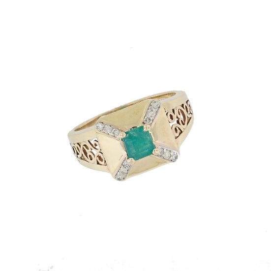 14kt Yellow Emerald & Diamond Filigree Fashion Ring
