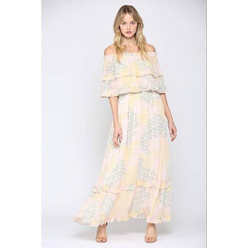 Ditsy Chiffon Maxi Dress