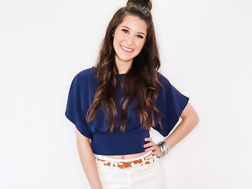 Navy Cropped Blouse